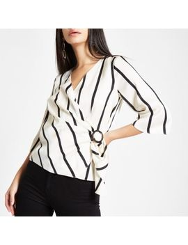 White Stripe Wrap Front Horn Ring Blouse by River Island