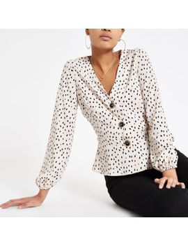 Beige Spot Long Sleeve Tea Top by River Island