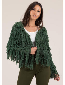 In Action Shaggy Fringed Cardigan by Go Jane
