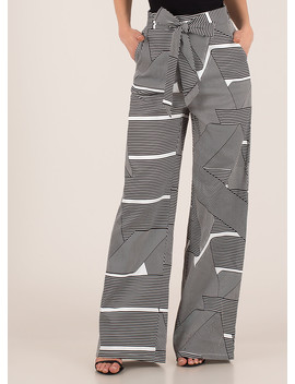 Fine Lines Striped Print Palazzo Pants by Go Jane