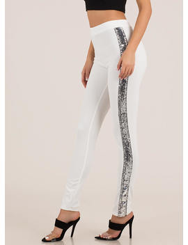 Bright Side Sequined Tuxedo Stripe Pants by Go Jane