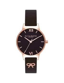 Embellished Vintage Bow Black & Rose Gold Watch by Olivia Burton