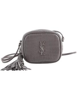 Monogram Blogger Embossed Crocodile Grey Leather Cross Body Bag by Saint Laurent