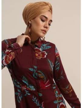 Maroon   Floral   Point Collar   Unlined   Viscose   Dresses by Modanisa