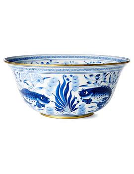 """15"""" Fish & Lotus Bowl, Blue/White by One Kings Lane"""