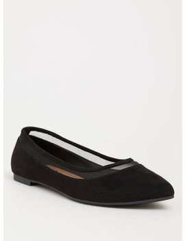 Black Mesh Pointed Toe Flat (Wide Width) by Torrid