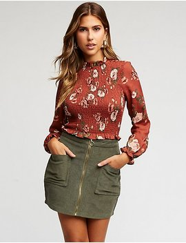 Floral Print Smocked Top by Charlotte Russe