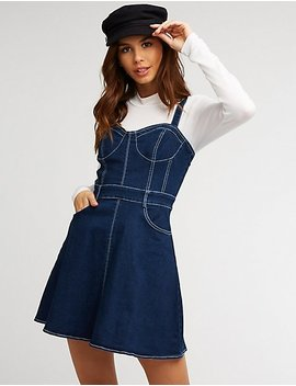 Denim Bustier Skater Dress by Charlotte Russe