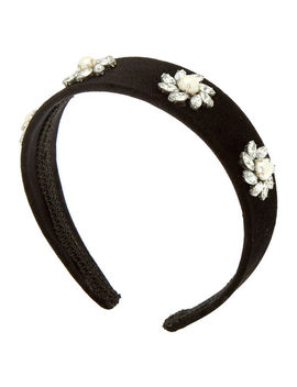 Velvet Stone Headband   Black by Claire's