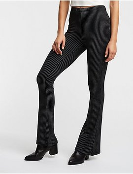Pinstripe Flare Knit Leggings by Charlotte Russe