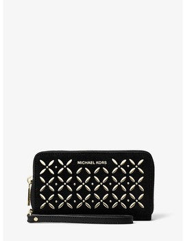 Jet Set Large Embellished Leather Smartphone Wristlet by Michael Michael Kors