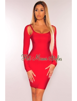 Red Bandage Cut Out Shoulder Long Sleeves Dress by Hot Miami Style