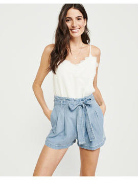 Belted Pleated Shorts by Abercrombie & Fitch