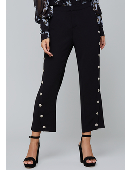 Snap Trim Flare Crop Pants by Bebe