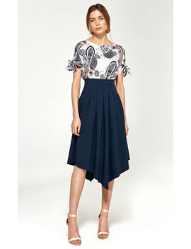 Asymmetrical Skirt With Pleats   Navy by So.Nife