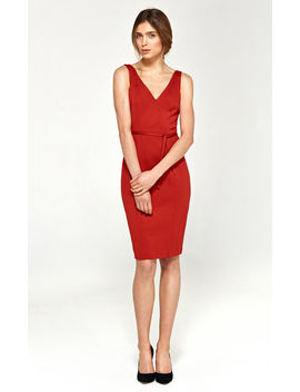 Red Sensual Dress With A Cleavage On The Back by So.Nife