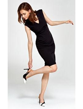 V Neck Midi Dress With Pencil Skirt Bottom In Black by So.Nife