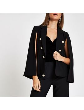 Black Long Sleeve Cape Jacket by River Island