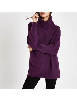 Purple Roll Neck Knit Sweater by River Island