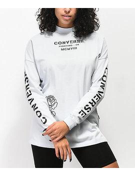 Converse Stencil Pale Blue Mock Neck Long Sleeve T Shirt by Converse