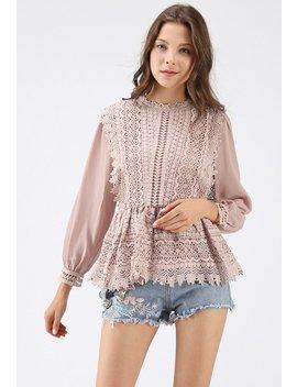 Say Yeah Crochet Chiffon Peplum Top In Blush Pink by Chicwish