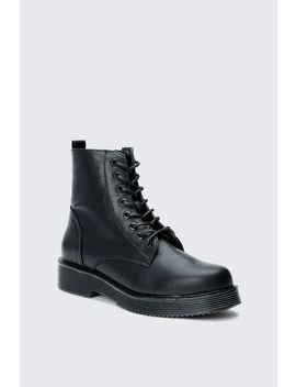 Black Chunky Lace Up Ankle Boots by Select