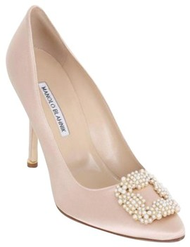 Nude 105mm Hangisi Beaded Silk Satin Pumps by Manolo Blahnik