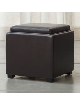"""Stow Chocolate 17"""" Leather Storage Ottoman by Crate&Barrel"""