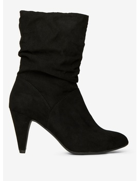 Black 'kylie' Ruched Boots by Dorothy Perkins