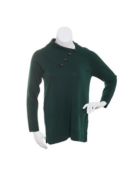 Jeanne Pierre Fine Gauge Cowl Neck Top With Buttons by Boscov's