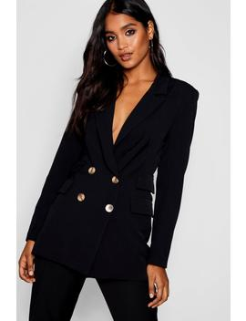 Double Pockets Double Breasted Blazer by Boohoo