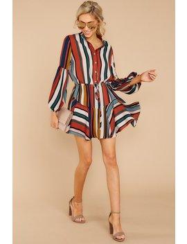 Best Shot Yet Orange Multi Stripe Dress by Olivaceous