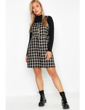 Plus Button Down Check Print Pinafore Dress by Boohoo