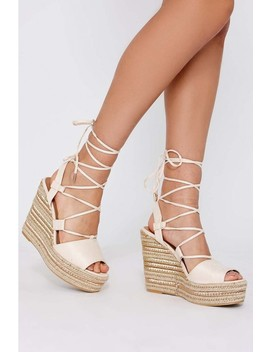Poni Cream Faux Suede Lace Up Espadrille Wedges by In The Style