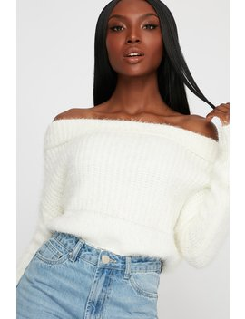 Faux Fur Off The Shoulder Cropped Long Sleeve Sweater by Urban Planet