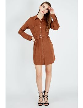 Brown Suede Shirt Dress by Select