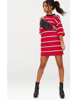 Red Contrast Stripe Oversized Boyfriend T Shirt Dress by Prettylittlething