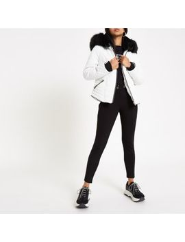 Petite White Faux Fur Hood Padded Jacket by River Island