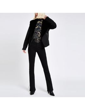 Black Fallaway Faux Suede Jacket by River Island