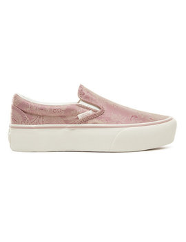 Satin Paisley Classic Slip On Platform Shoes by Vans