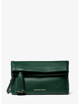 Brooklyn Pebbled Leather Fold Over Clutch by Michael Michael Kors