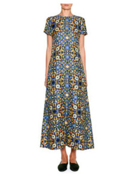 Short Sleeve Floral Swing Maxi Dress by Double J