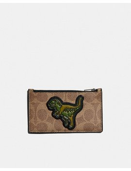 Zip Card Case In Signature Canvas With Rexy by Coach