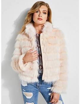 Asako Tiered Faux Fur Jacket by Guess