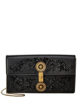 Women's Black Embroidered Icon Leather Shoulder Bag by Versace