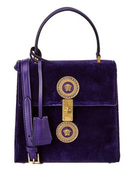 Women's Purple Icon Leather Satchel by Versace