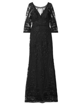 Women's Black Guipure Lace And Embroidered Tulle Gown by Marchesa Notte