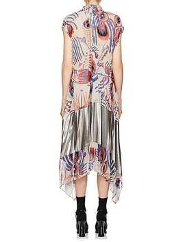 Pleated Peacock Print Dress by Dries Van Noten
