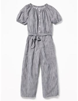 Striped Tie Belt Wide Leg Jumpsuit For Girls by Old Navy