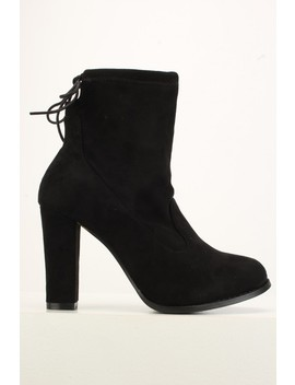 Black Chunky High Heel Ankle Booties by Ami Clubwear